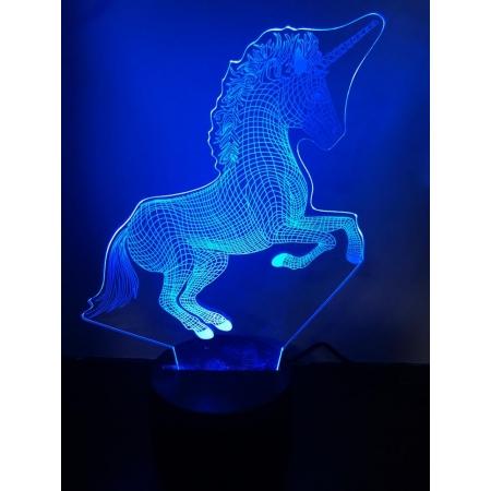 Ночник светодиодный голограмма CADENA Единорог, 3 цвета, 3DUnicorn